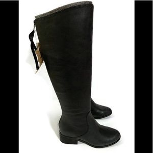 Lucky Brand Black Leather Knee Hi Zip Up Boots